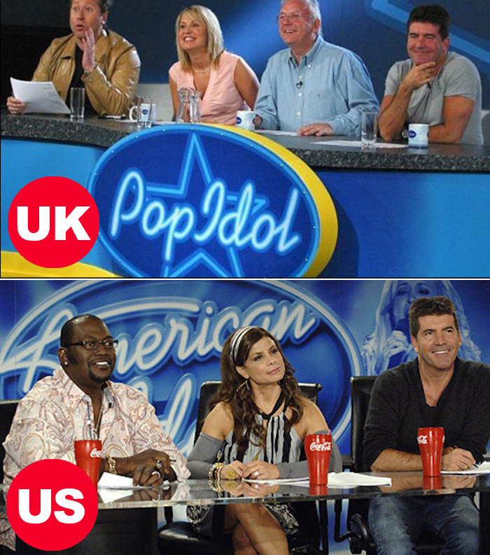 Side-by-side images of the UK's Pop Idol judges (Pete Waterman, Simon Cowell, Nicki Chapman, and Dr. Fox) and the US's American Idol judges (Simon Cowell, Paula Abdul, and Randy Jackson)