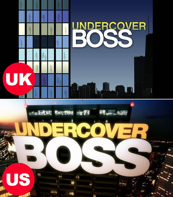 Side-by-side images of the US and UK Undercover Boss title cards