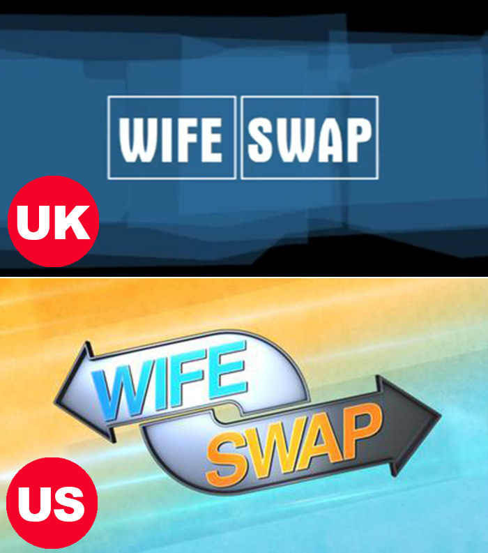 Side-by-side images the Wife Swap logos in The UK and US
