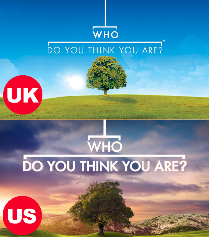 Side-by-side images of the logos for the US and UK versions of Who Do You Think You Are? Both logos have an isolated tree on a grassy plain