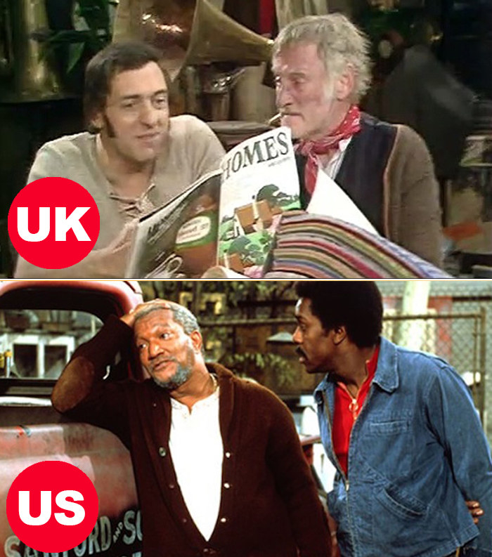 Side-by-side images of Albert and Harold Steptoe from Steptoe and Son in the UK and Fred and Lamont Sanford from Sanford and Son in the US