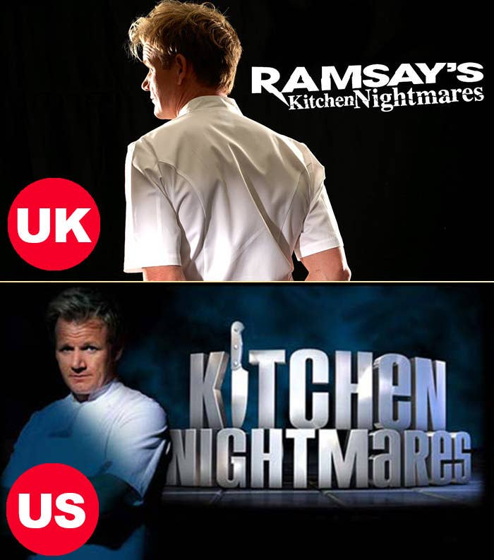Side-by-side images of the UK Rasmay's Kitchen Nightmares logo and the US Kitchen Nightmares logo, both with Gordon Ramsay in a chef's coat