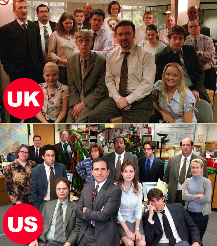 Side-by-side images of the US and UK versions of The Office. Both images have the cast gathered together in the office with the bosses in the center and supporting employees around it. Nobody looks super thrilled their picture is being taken.