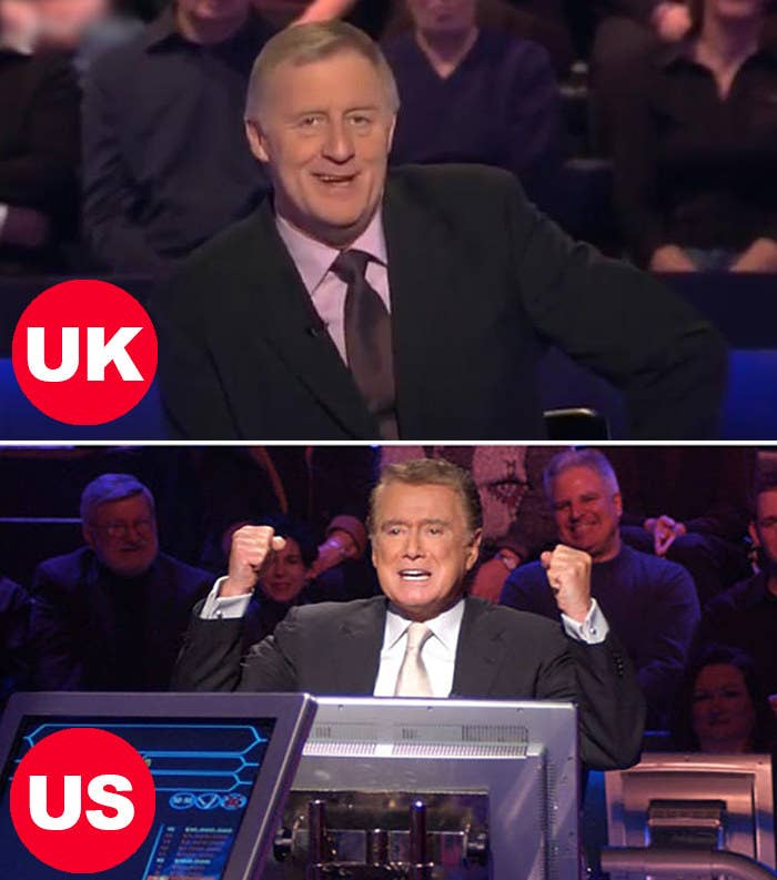 Side-by-side images of Chris Tarrant hosting in the UK version and Regis Philbin hosting in the UK version