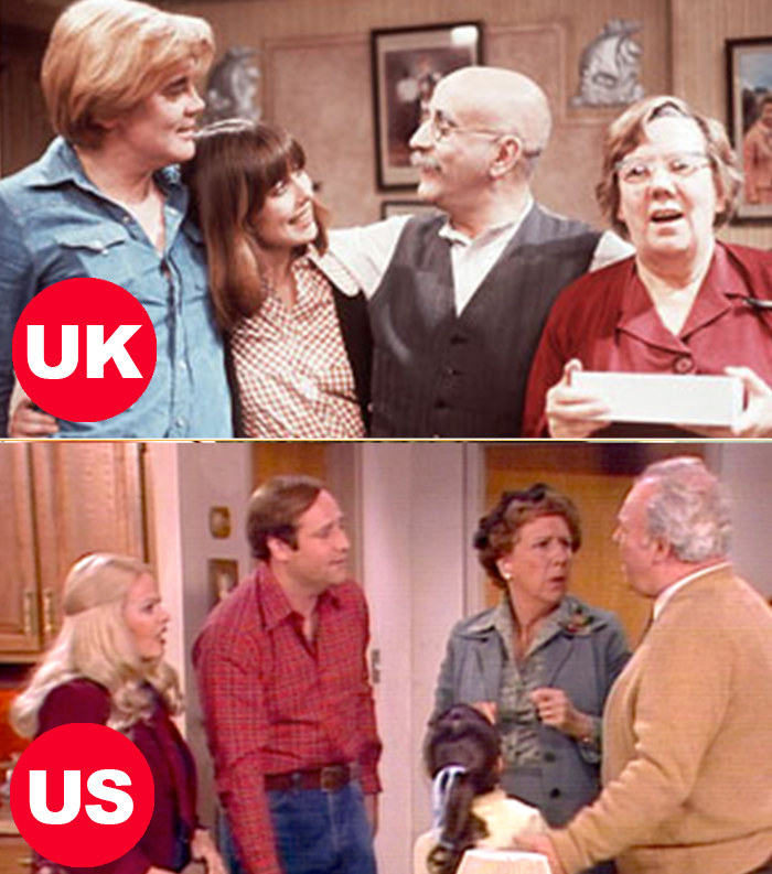 Side-by-side images of the Garnets from the UK's Till Death Do Us Part and the Bunkers from the US's All in the Family