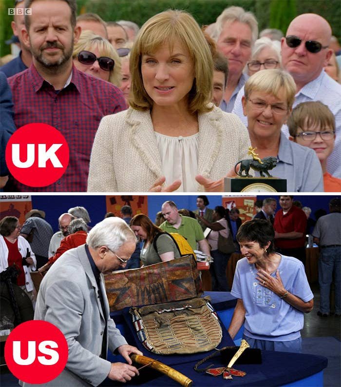 Side-by-side images of Fiona Bruce in the UK version appraising an item and an appraiser in the US version consulting someone on their item