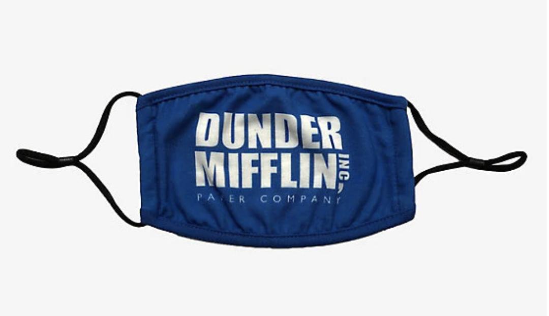 A blue Dunder Mifflin logo face mask