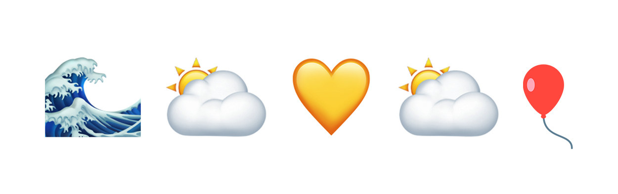 waves, partly cloudy, yellow heart, partly cloudy, balloon emojis