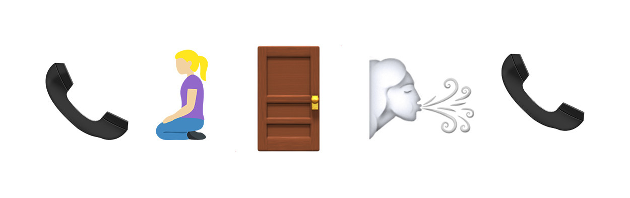 phone, person on knees, door, person breathing, phone emojis