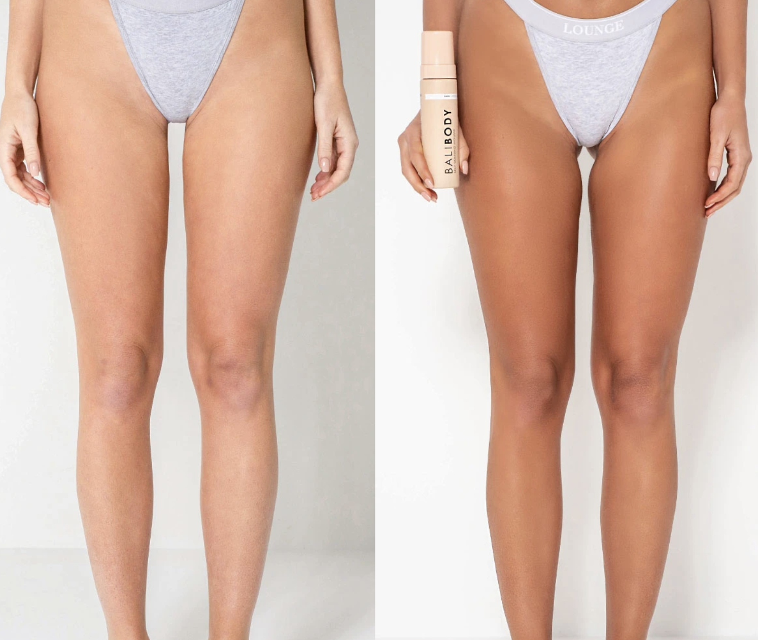Model's before and after photo. The after photo shows a tanner, streak-free complexion