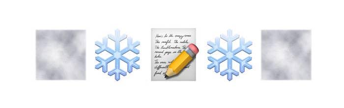 A fog, snowflake, and handwritten letter emojis