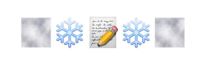 A fog, snowflake, and handwritten letter emojis