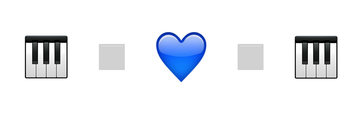 piano keys, little white square, blue heart, little white square, piano keys emojis