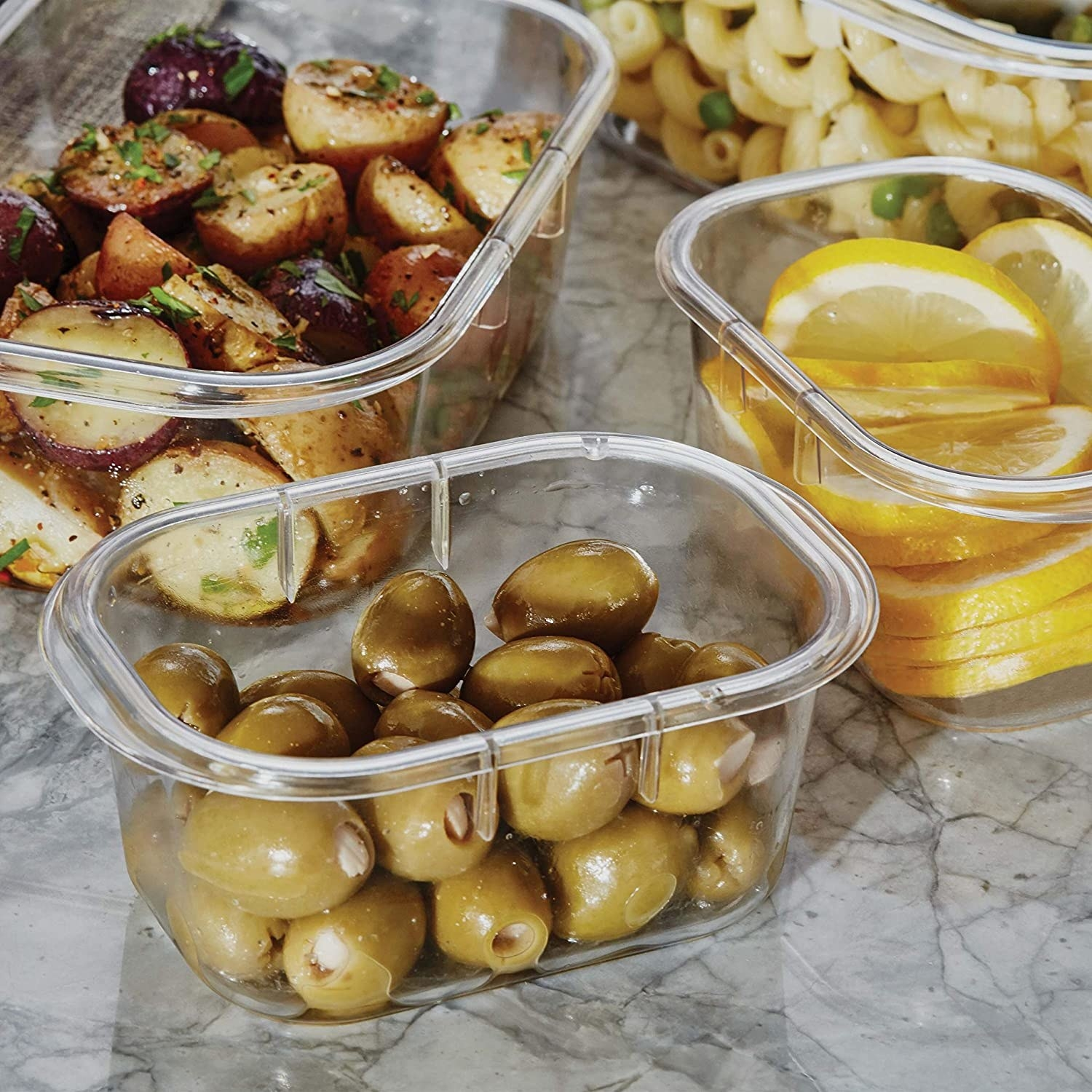 The containers filled with various kind of foods