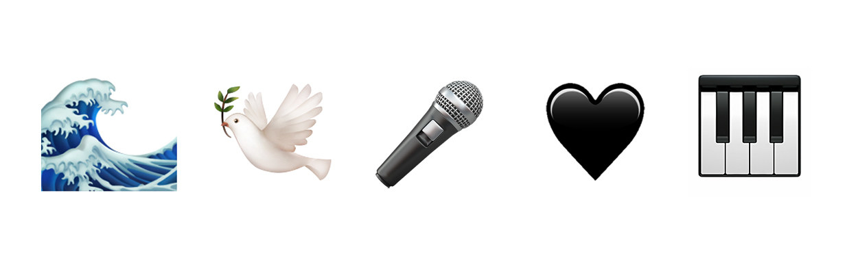 waves, dove, microphone, black heart, piano keys