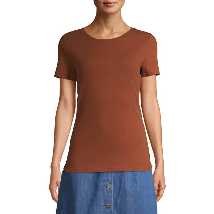 The rust-colored T-shirt