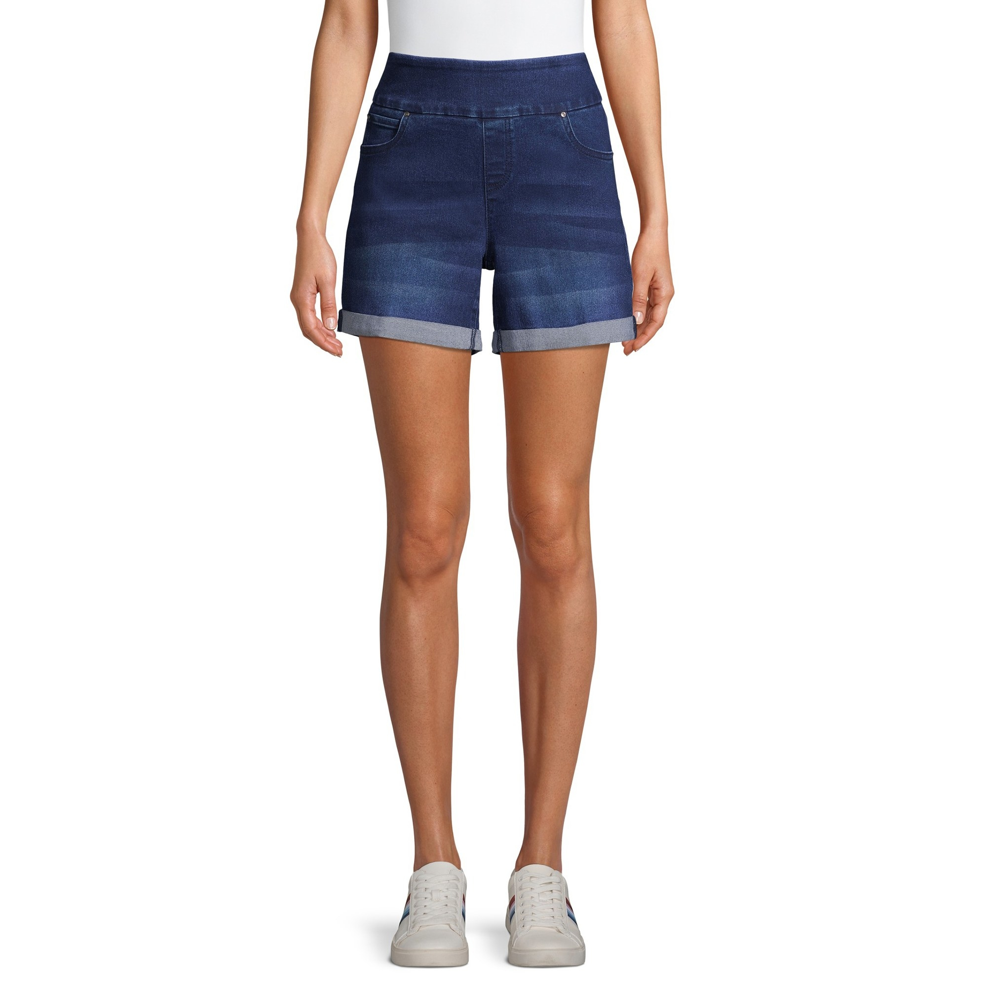 The high-waisted, dark denim shorts