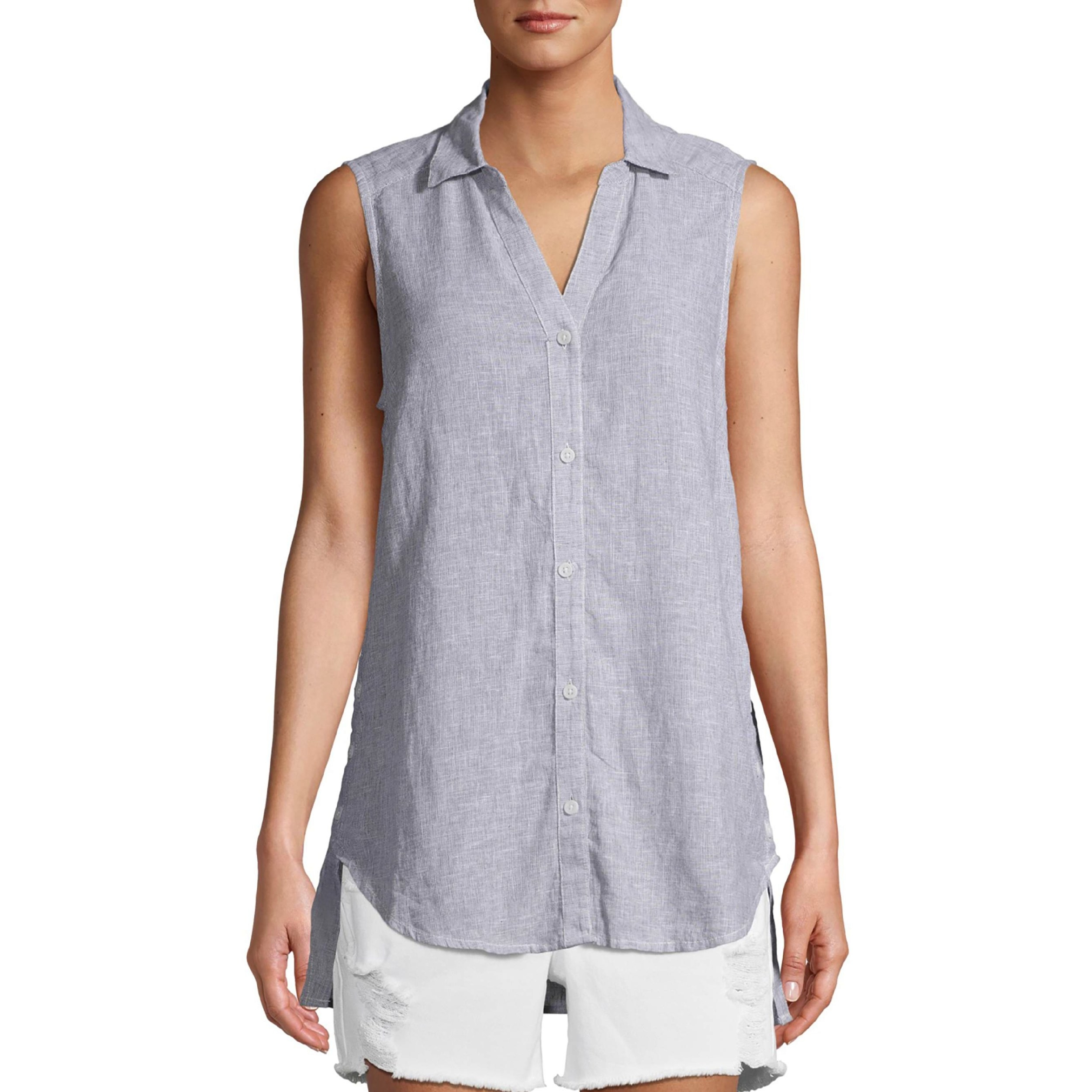 The grey linen button-down tank