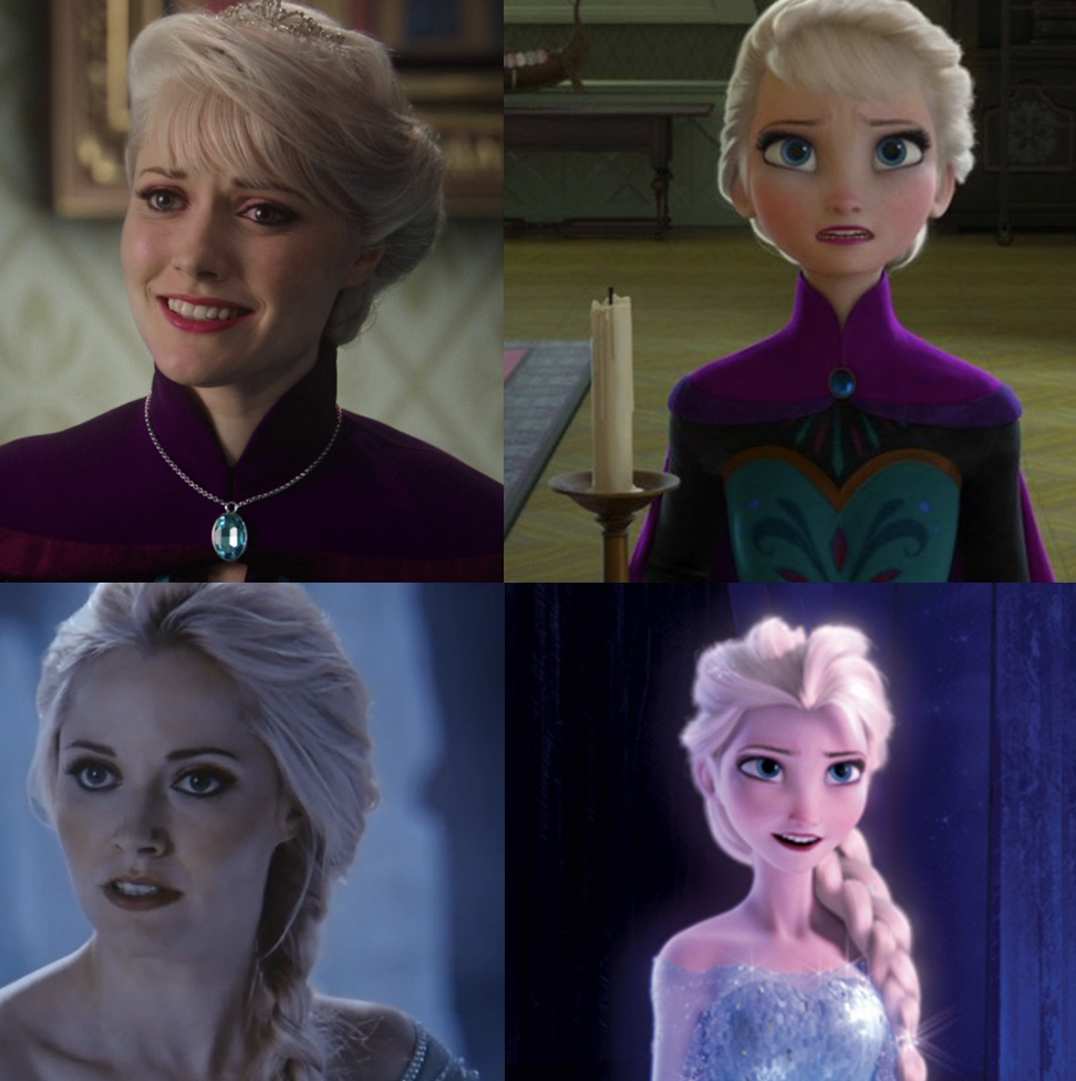 the live-action and animated versions of Elsa in her coronation dress and ice dress