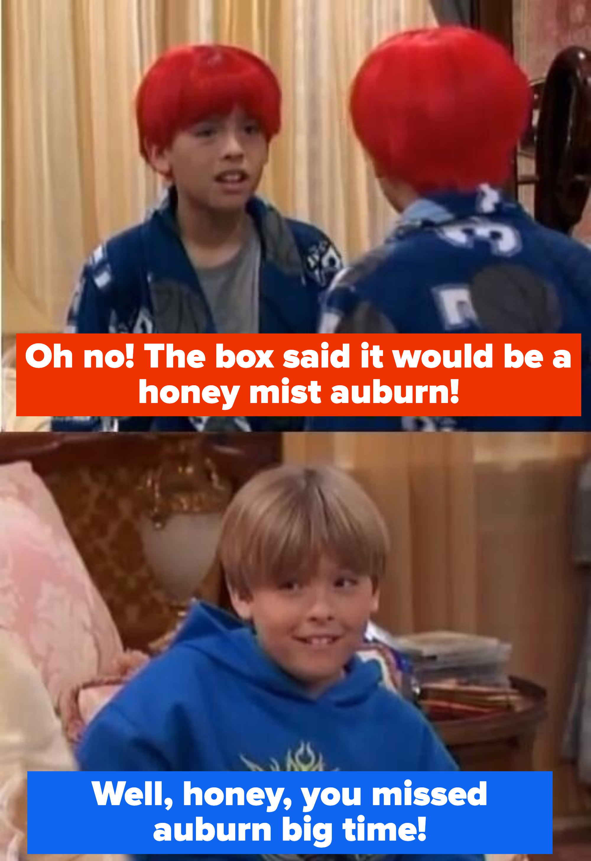 """Cody says """"Oh no! The box said it would be a honey mist auburn!"""" and Zack replies """"Well, honey, you missed auburn big time!"""""""