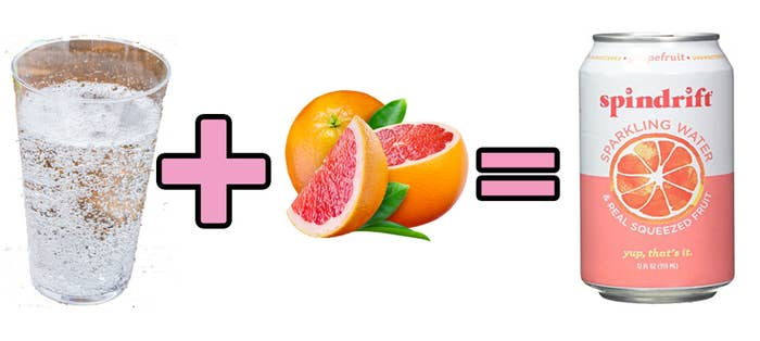A cup of seltzer water plus grapefruit equals spindrift grapefruit in a can