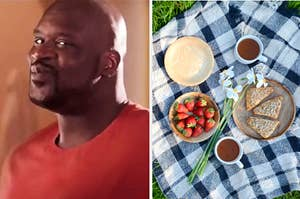 Shaq and a picnic with food and drinks.