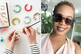 On the left, hands painting DIY hoop earrings. On the right, a reviewer wearing tortoiseshell wayfarer sunglasses