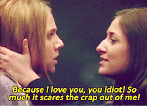 """""""Degrassi"""" Alex to Paige: """"Because I love you, you idiot, so much it scares the crap out of me"""""""