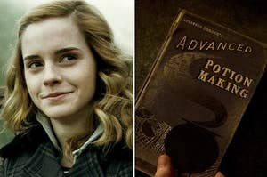 "Hermione and a copy of Advanced Potion Making from ""Harry Potter and the Half Blood Prince"""