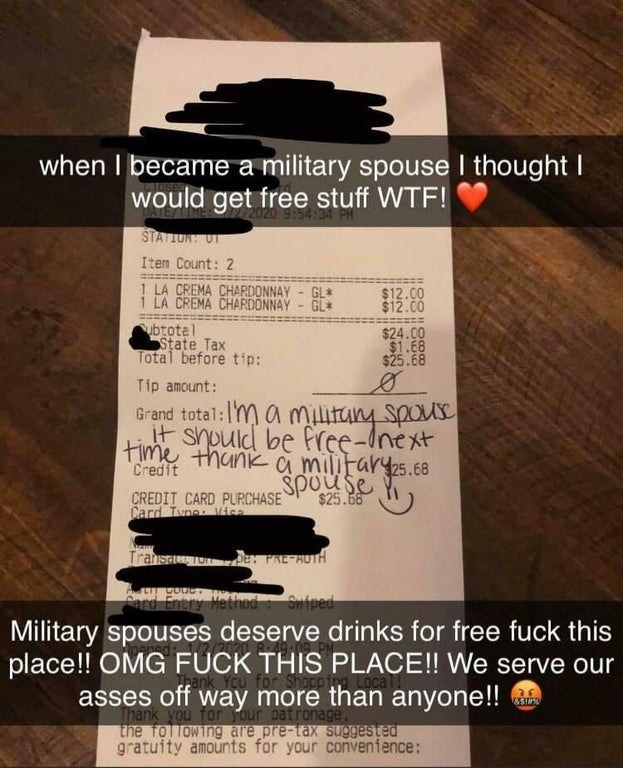 A military spouse posts a bar receipt with a zero dollar tip and complains that military spouses should get free drinks