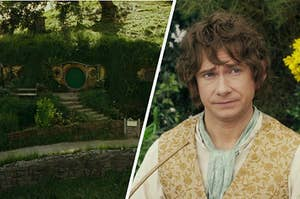 An image of a home in Hobbiton and Bilbo Baggins looking perplexed