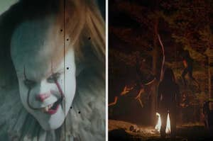 Pennywise appearing on a projector and Thomasin joing a witch's sabbath in