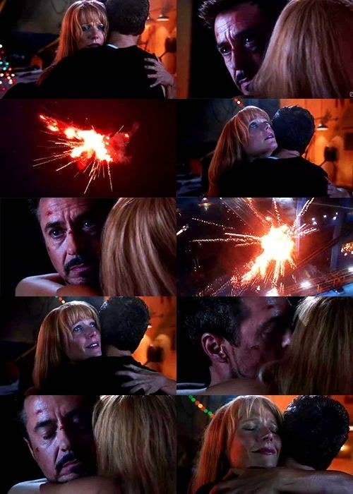 Tony Stark hugs Pepper as his suits explode