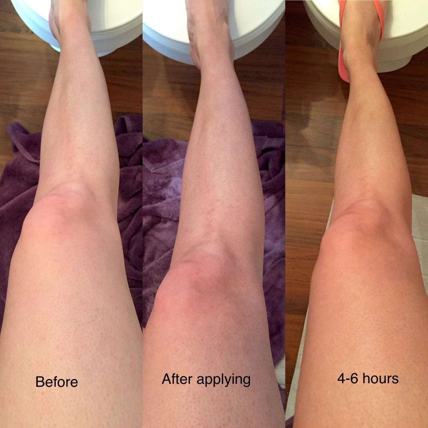 Reviewer's photo showing how the product progressively darkened to leave a natural-looking tan