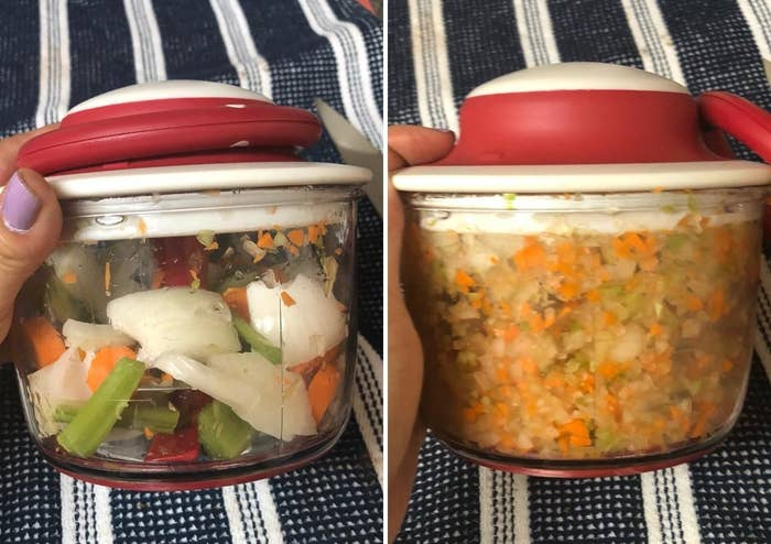 Reviewer before and after photos showing roughly chopped veggies finely minced by the chopper