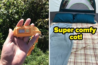 on the left writer's hand holding headlamp, on the right reviewer's cot in a tent labeled