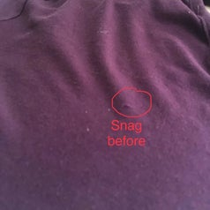 Reviewer photo of a snag in a shirt
