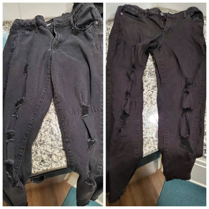 Reviewer's before-and-after of faded black jeans compared to much darker black jeans
