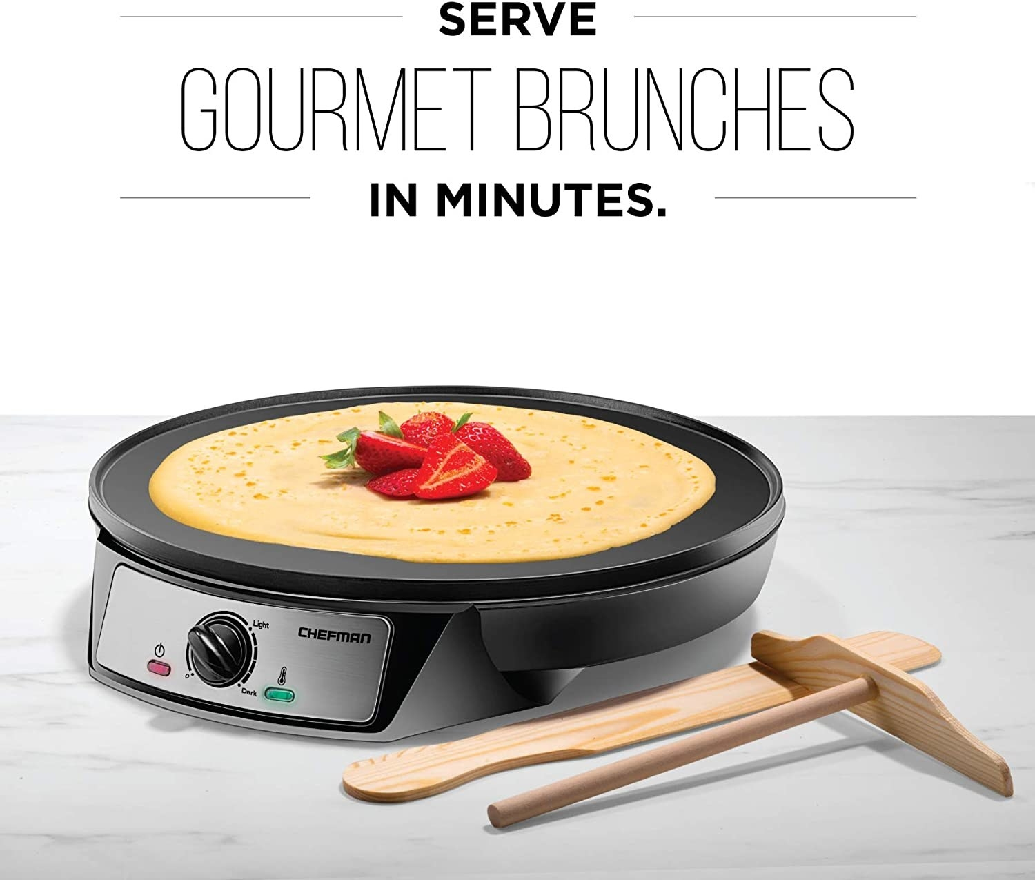 """The crepe maker and tools with text """"serve gourmet brunches in minutes"""""""