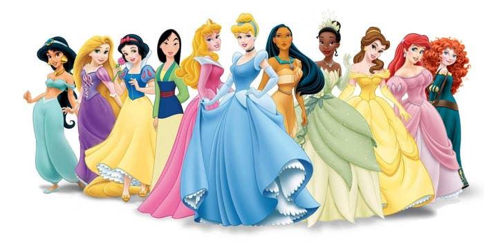 jasmine, Repunzel, snow white, mulan, aurora, Cinderella, pocohantes, tiana, belle, Ariel, Mereda.