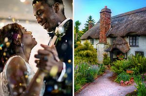 A couple dancing at their wedding with glittery confetti surrounding them, and a quaint cottage surrounded by flowers