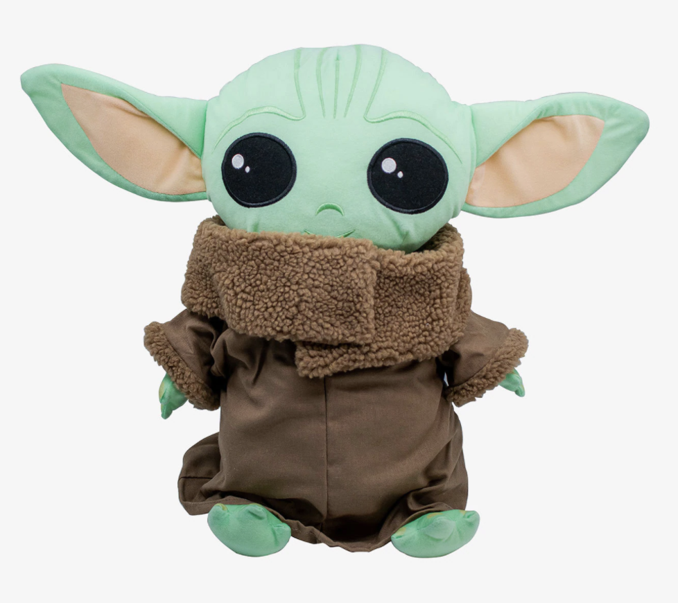 a flatter, pillow-like baby yoda in a dark brown outfit
