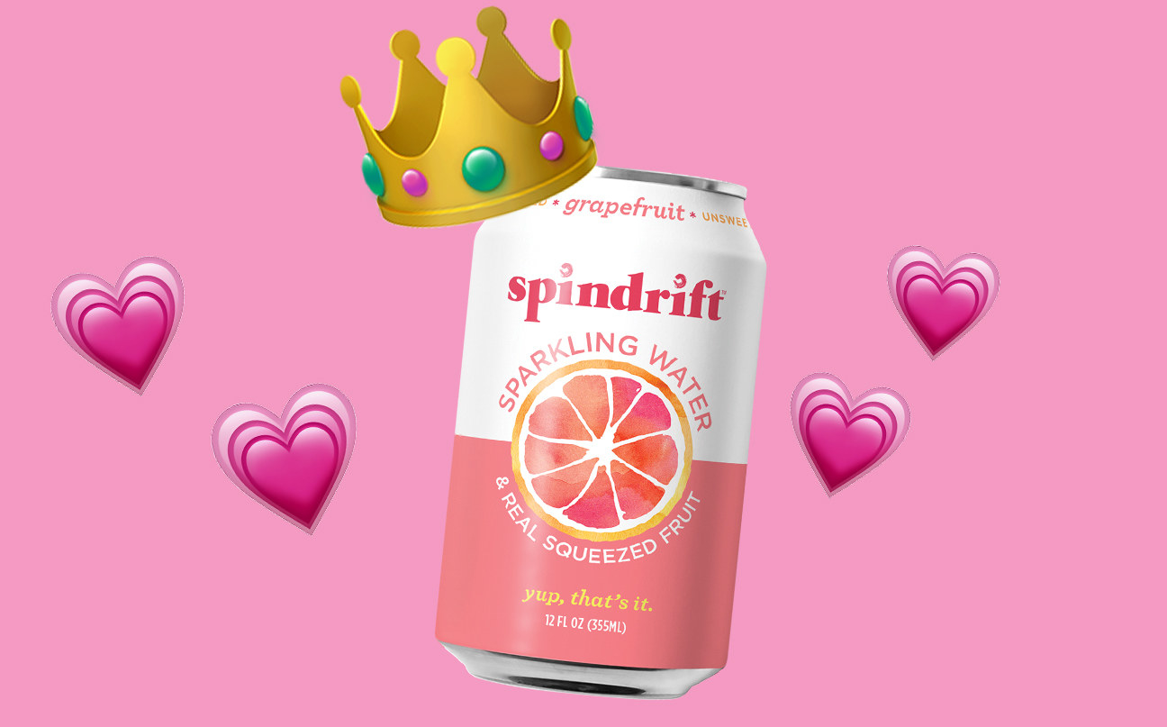 A can of spindrift sparkling water with a crown on top. The can is surrounded by hearts.