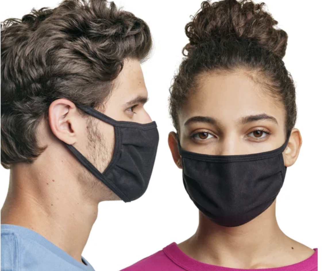 Two models showing a side and front view of a black face mask