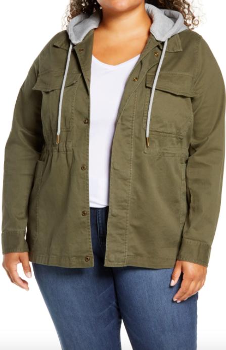 A model wearing the Caslon Hooded Utility Jacket.