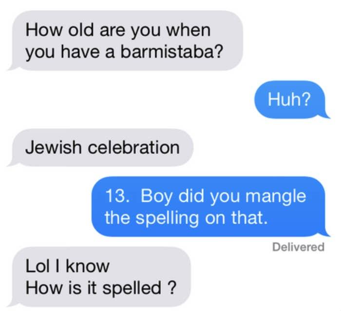 Person misspelling barmixtzfah as barmistaba