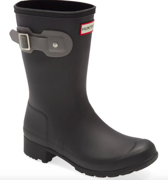 The Hunter Original Tour Short Packable Rain Boot in black/mere rubber.