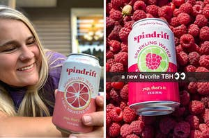 On the left, a girl smiles at a can of spindrift grapefruit seltzer. On the right, a can of spindrift raspberry over a bed of raspberries.