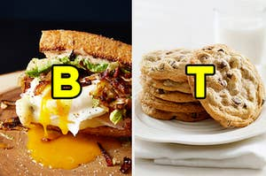 """On the left, a breakfast sandwich made with toasted bread with bacon, avocado, and a poached egg with a runny yolk with """"B"""" typed on top of the image, and on the right, a plate of chocolate chip cookies with """"T"""" typed on top of the image"""