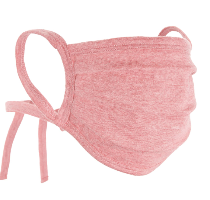 Pink tie string face mask